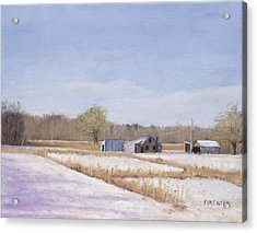Farmland In Winter  Concord Massachusetts Acrylic Print by Mark Pimentel