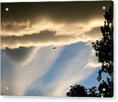 Fascinating Clouds And A 737 Acrylic Print by Will Borden
