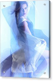 Fashion Photo Of A Woman In Shining Blue Settings Acrylic Print by Oleksiy Maksymenko