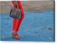 Fashionably Red Acrylic Print by Karol Livote