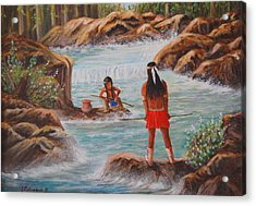 Father And Son Fishing Day Acrylic Print by Janna Columbus