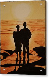Acrylic Print featuring the painting Father And Son by Teresa Beyer