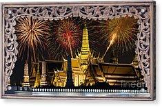 Father Celebrate In Wat Phra Kaew  Acrylic Print by Anek Suwannaphoom