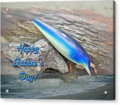 Fathers Day Greeting Card - Vintage Floyd Roman Nike Fishing Lure Acrylic Print by Mother Nature