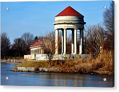 Fdr Park Gazebo And Boathouse Acrylic Print by Bill Cannon