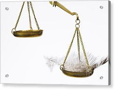 Feather On Weighing Scales Acrylic Print by Sami Sarkis