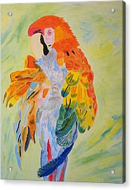 Acrylic Print featuring the painting Feathers Showing God's Painting by Meryl Goudey