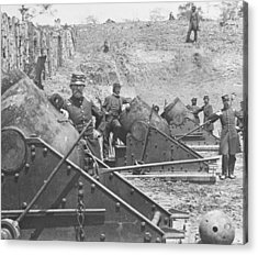 Federal Siege Guns Yorktown Virginia During The American Civil War Acrylic Print by Mathew Brady