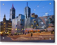 Federation Square At Dusk Acrylic Print by Greg Elms