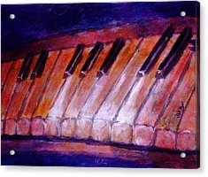 Feeling The Blues On Piano In Magenta Orange Red In D Major With Black And White Keys Of Music Acrylic Print