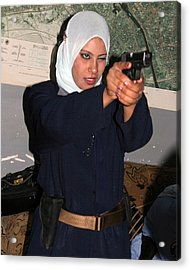 Female Iraqi Police Officers Practice Acrylic Print by Everett