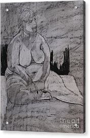 Female Nude Seated Acrylic Print by Joanne Claxton