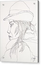 Acrylic Print featuring the drawing Female Portrait 017 by Rand Swift