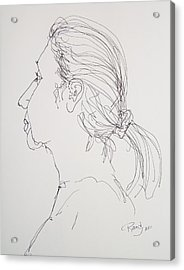Acrylic Print featuring the drawing Female Portrait 05 by Rand Swift