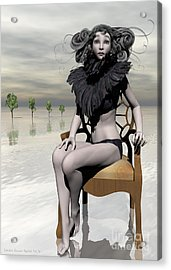 Femme Avec Chaise Acrylic Print by Sandra Bauser Digital Art