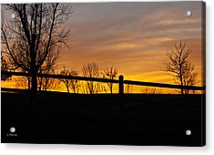 Acrylic Print featuring the photograph Fence At Sunset by Edward Peterson