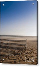 Fence On Beach Acrylic Print by Sam Bloomberg-rissman