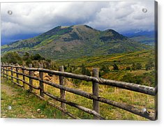 Fence Row And Mountains Acrylic Print by Marty Koch