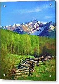 Fenceline Mountains Acrylic Print