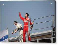 Fernando Alonso And Sergio Perez Acrylic Print by David Grant