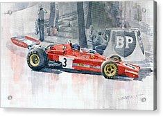Ferrari 312 B3 Monaco Gp 1973 Jacky Ickx Acrylic Print by Yuriy  Shevchuk