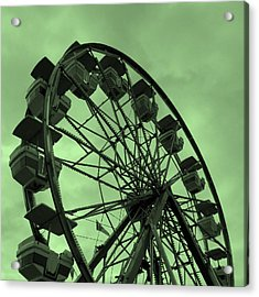 Acrylic Print featuring the photograph Ferris Wheel Green Sky by Ramona Johnston