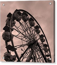 Acrylic Print featuring the photograph Ferris Wheel Pink Sky by Ramona Johnston