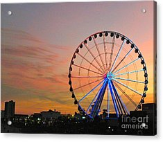 Acrylic Print featuring the photograph Ferris Wheel Sunset 2 by Eve Spring