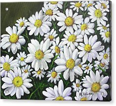 Field Of Daisies Acrylic Print by Mary Kay Holladay