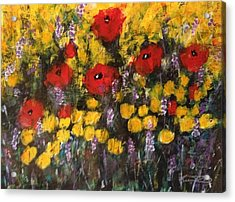 Field Of Flowers With Poppies Acrylic Print by Kelli Perk