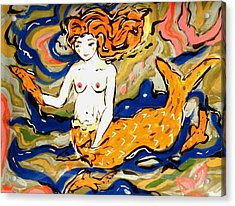 Fiery Mermaid Acrylic Print by Patricia Lazar