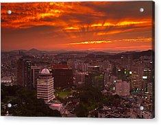 Fiery Seoul Sunset Acrylic Print by Gabor Pozsgai