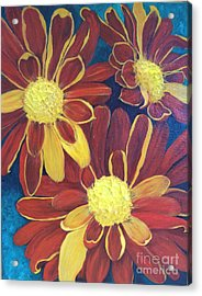 Acrylic Print featuring the painting Fiesta Daisies by Lucia Grilletto