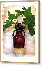 Fig Branch In Europeon Pottery Acrylic Print by Marsha Heiken