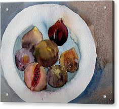 Figs On A Plate Acrylic Print by Myra  Gallicker