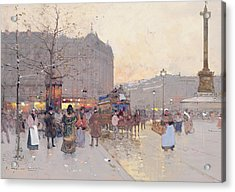 Figures In The Place De La Bastille Acrylic Print