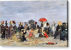 Figures On A Beach Acrylic Print by Eugene Louis Boudin
