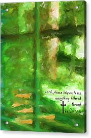 Filtered Through The Cross Acrylic Print by Cindy Wright