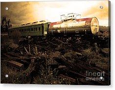 Final Stop Express . Sepia . 7d8995 Acrylic Print