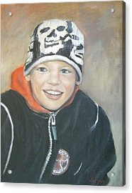 Acrylic Print featuring the painting Finnish Boy Commission by Katalin Luczay