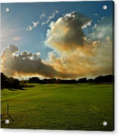 Fire Clouds Over A Golf Course Acrylic Print by Kirsten Giving