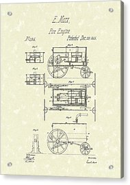 Fire Engine 1845 Patent Art Acrylic Print by Prior Art Design