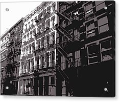 Fire Escapes Bw3 Acrylic Print by Scott Kelley