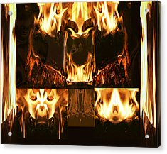 Fire Faces Acrylic Print by Janet Kearns