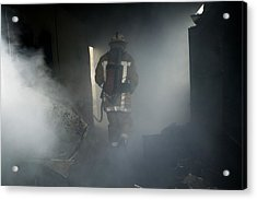 Fire Fighter In A Burnt House Acrylic Print by Michael Donne