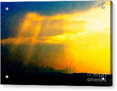 Fire In The City Acrylic Print by Wingsdomain Art and Photography