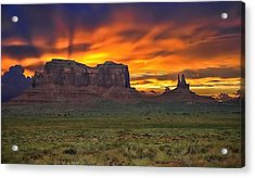 Acrylic Print featuring the photograph Fire In The Sky Over The Valley by Renee Hardison