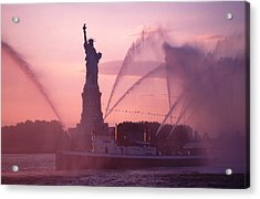 Fireboat Plumes The Statue Of Liberty Acrylic Print