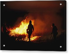Firefighters Start A Controlled Fire Acrylic Print by Joel Sartore