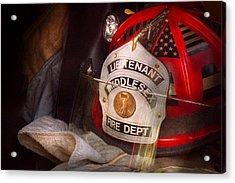 Fireman - Hat - The Lieutenants Cap  Acrylic Print by Mike Savad